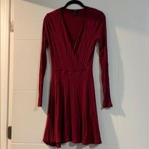 Burgundy faux wrap dress